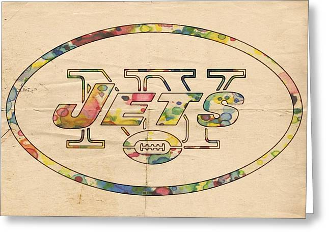 Ny Jets Logo Greeting Cards - New York Jets Vintage Logo Greeting Card by Florian Rodarte