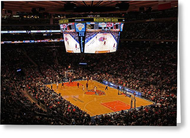 Knicks Greeting Cards - New York Knickerbockers Greeting Card by Juergen Roth