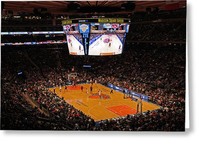 Knicks Photographs Greeting Cards - New York Knickerbockers Greeting Card by Juergen Roth