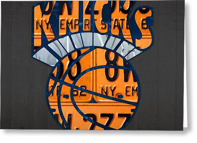 Knicks Greeting Cards - New York Knicks Basketball Team Retro Logo Vintage Recycled New York License Plate Art Greeting Card by Design Turnpike