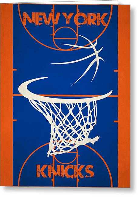 Knicks Greeting Cards - New York Knicks Court Greeting Card by Joe Hamilton