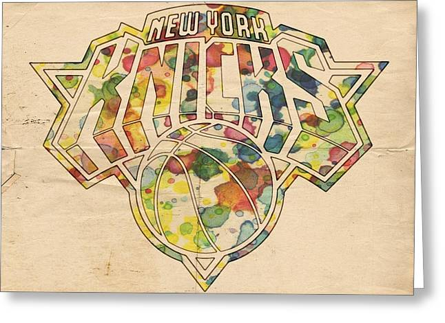 Knicks Greeting Cards - New York Knicks Logo Art Greeting Card by Florian Rodarte