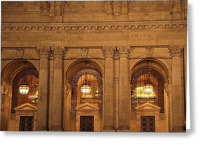 College Avenue Greeting Cards - New York Library Greeting Card by Dan Sproul