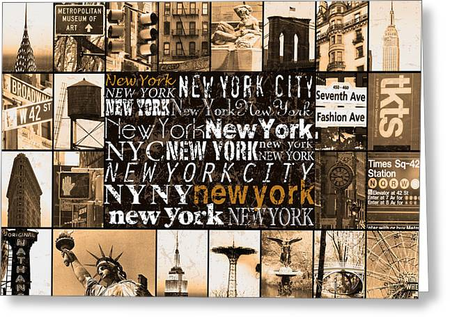 Brooklyn Bridge Mixed Media Greeting Cards - New York Life in sepia Greeting Card by Marilu Windvand