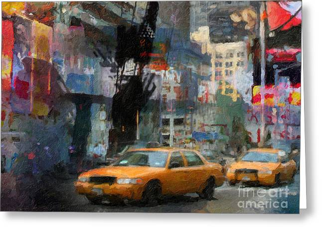 New York Lights Greeting Card by Lutz Baar