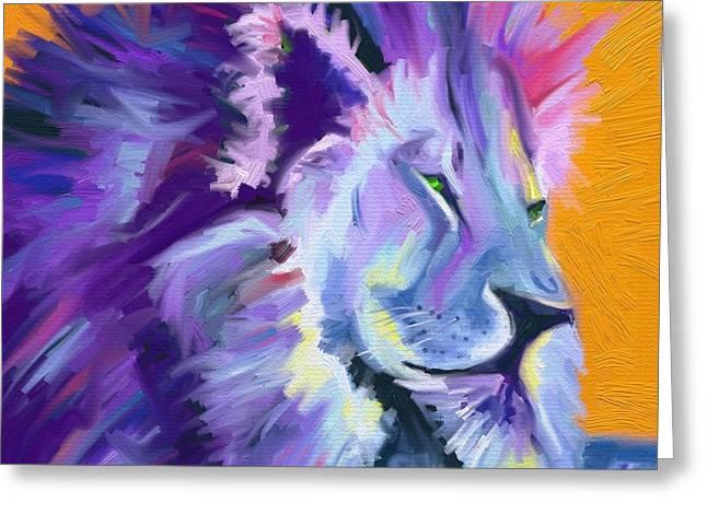 King Of Judah Greeting Cards - New York Lion Greeting Card by Nancy Capra