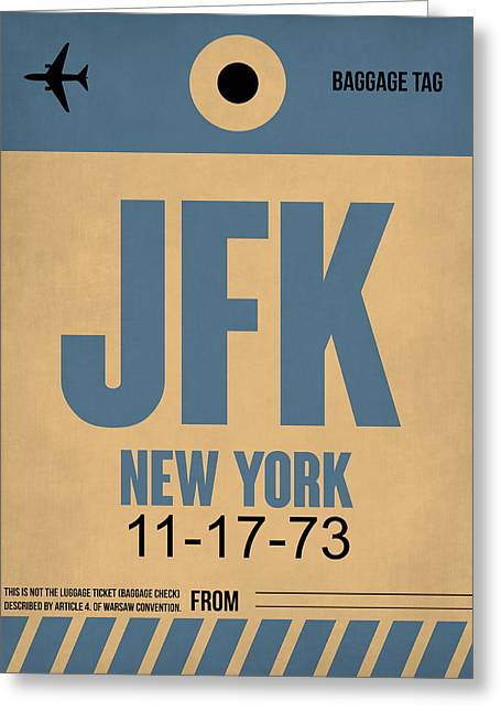 New York Luggage Tag Poster 2 Greeting Card by Naxart Studio