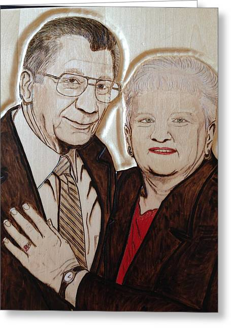 Couples Pyrography Greeting Cards - New York Ma and Pa Greeting Card by Lindsee Pitsch