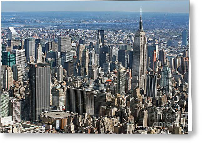 Madison Greeting Cards - New York Manhattan Areal View  Greeting Card by Lars Ruecker