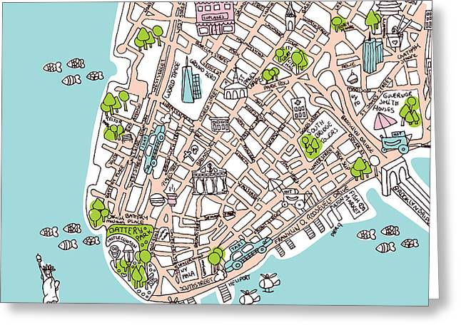 Decorative Fish Drawings Greeting Cards - New York Manhattan illustrated map Greeting Card by Little Smilemakers Studio
