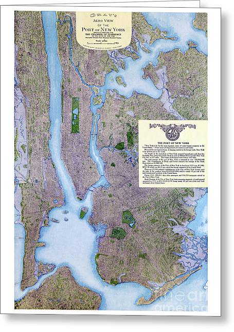 Vintage Map Paintings Greeting Cards - New York map - 1913 Greeting Card by Pablo Romero