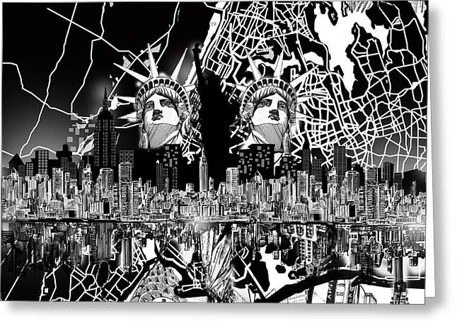 Nyc Posters Digital Art Greeting Cards - New York Map Black And White 2 Greeting Card by MB Art factory
