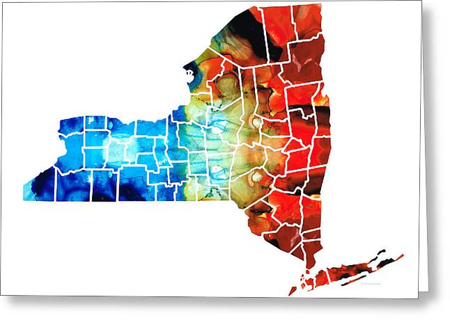 .freedom Mixed Media Greeting Cards - New York - Map By Sharon Cummings Greeting Card by Sharon Cummings