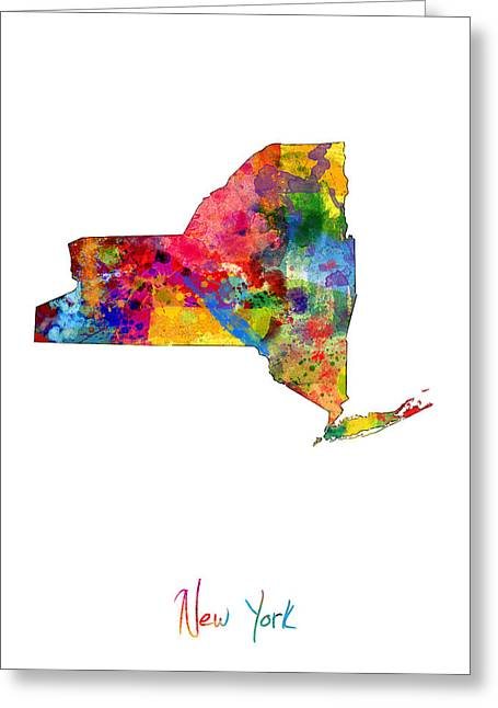 East Coast Greeting Cards - New York Map Greeting Card by Michael Tompsett