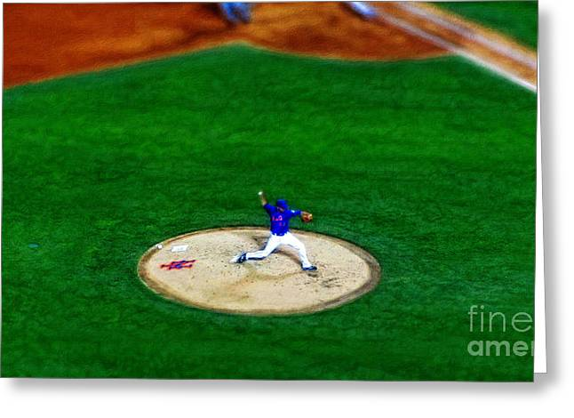 Batting Helmet Greeting Cards - New York Mets Pitcher Abstract Greeting Card by Nishanth Gopinathan