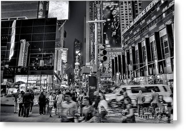 New York Minute In Black And White Greeting Card by Jeff Breiman
