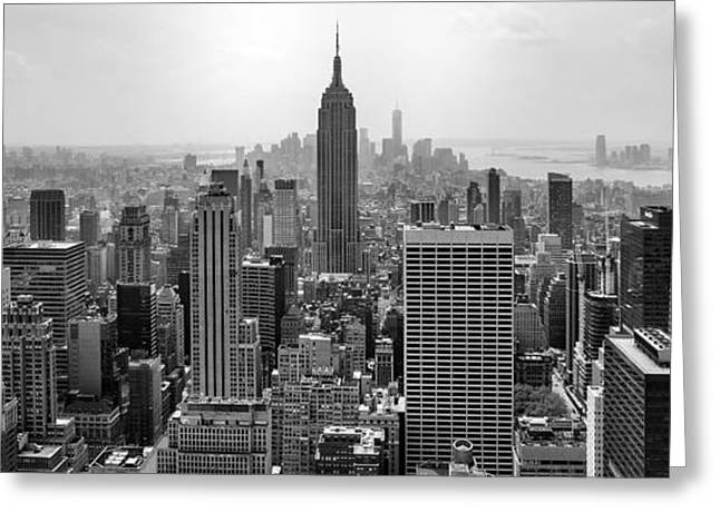 Symmetry Greeting Cards - New York Moody Skyline  Greeting Card by Az Jackson