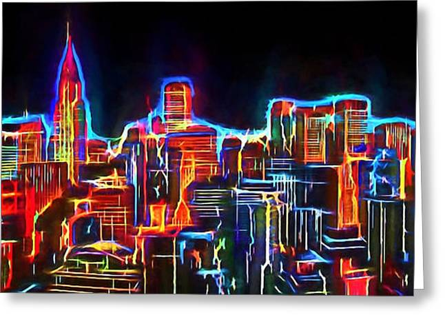 Live Digital Greeting Cards - New York Neo View 3 Greeting Card by Yury Malkov