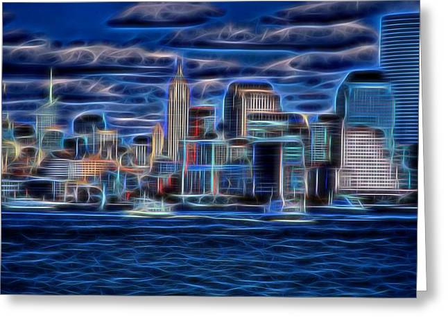 Wall Street Mixed Media Greeting Cards - New York New York  Greeting Card by Dan Sproul