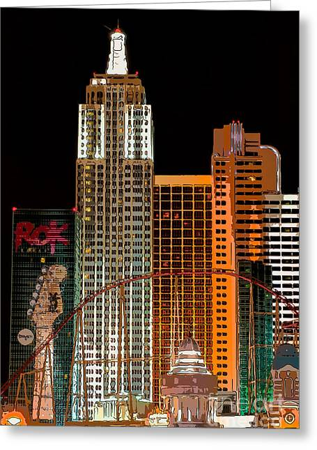 Las Vegas Greeting Cards - New York-New York Hotel Las Vegas - Pop Art Style Greeting Card by Ian Monk