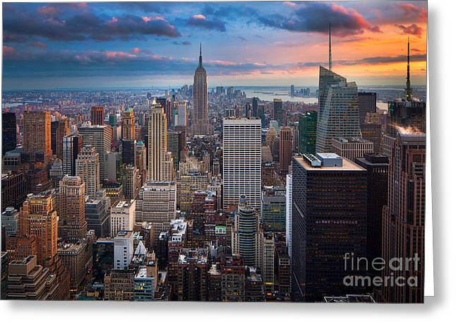 Evening Lights Greeting Cards - New York New York Greeting Card by Inge Johnsson