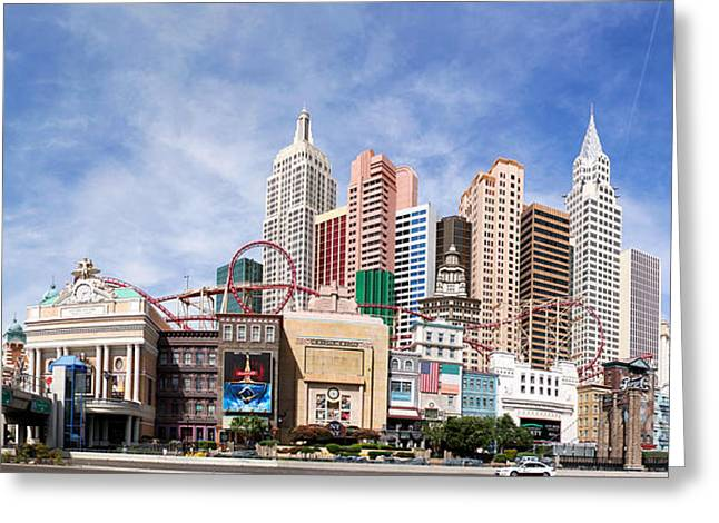 Coasters Greeting Cards - New York New York Las Vegas Greeting Card by Jane Rix