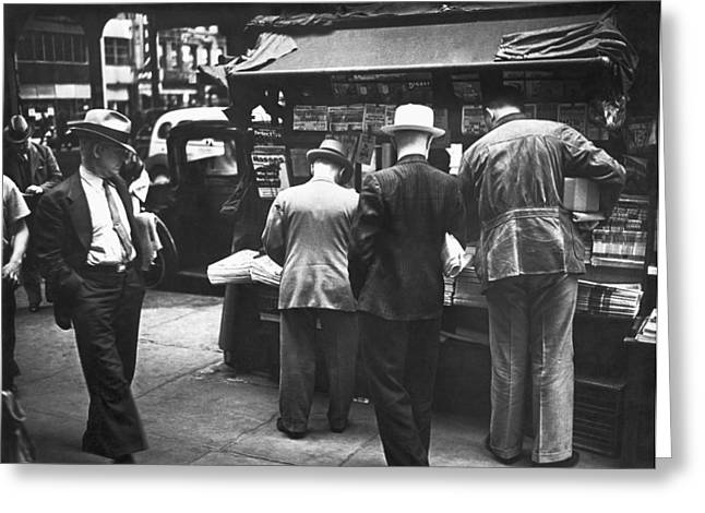 New York Newspaper Stand Greeting Card by Underwood Archives