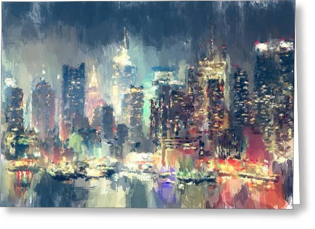 Live Art Greeting Cards - New York Night lights 2 Greeting Card by Yury Malkov