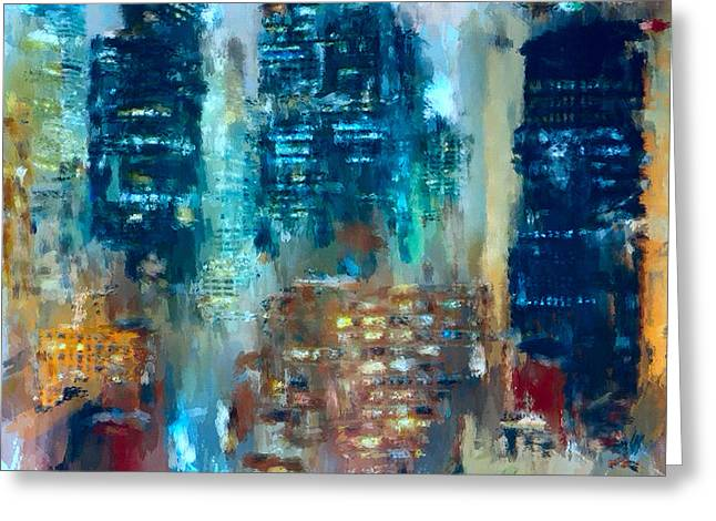 Live Art Greeting Cards - New York Night lights 3 Greeting Card by Yury Malkov