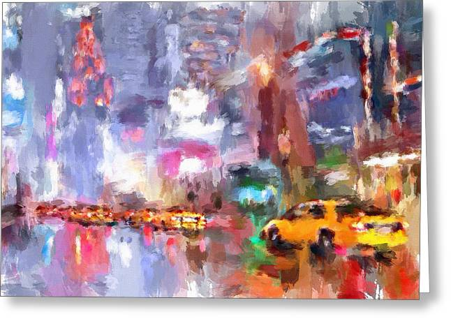 Live Digital Greeting Cards - New York Night lights 4 Greeting Card by Yury Malkov