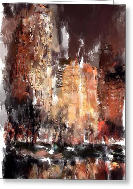 Live Art Greeting Cards - New York Night lights 5 Greeting Card by Yury Malkov