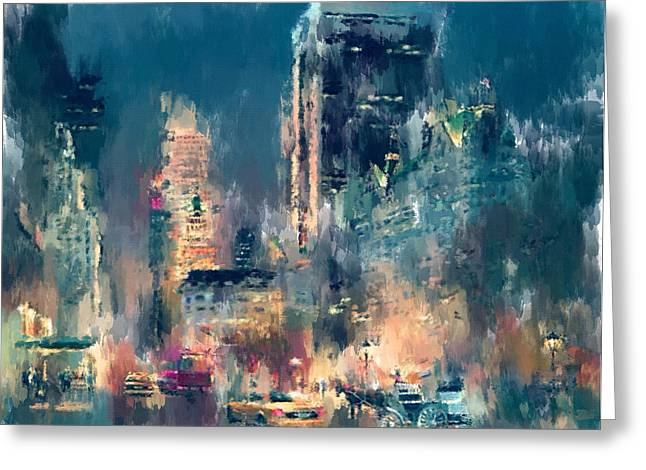 Live Digital Greeting Cards - New York Night lights Greeting Card by Yury Malkov