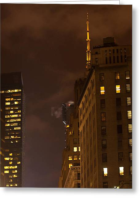 Toy Guitars Greeting Cards - New York Night Greeting Card by Paul Mangold