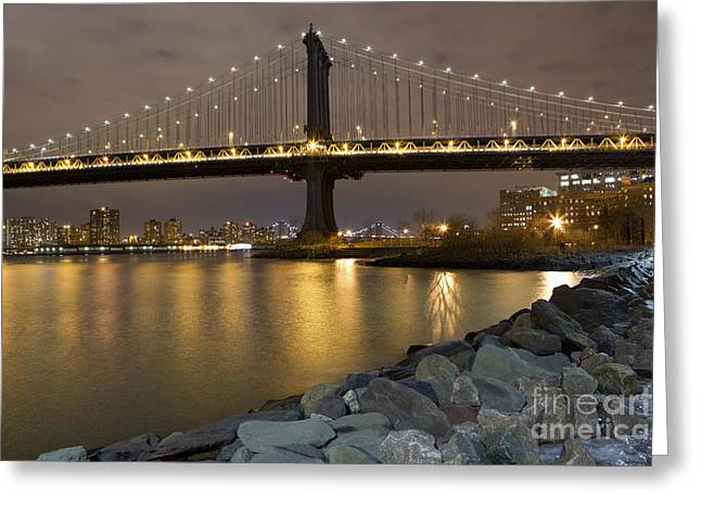 Leslie Leda Greeting Cards - New York Nights Greeting Card by Leslie Leda
