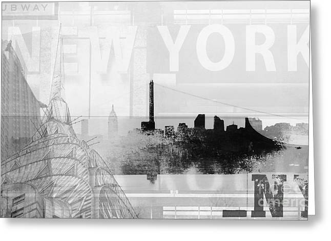 Urbano Greeting Cards - New York NY architectural collage Greeting Card by adspice Studios