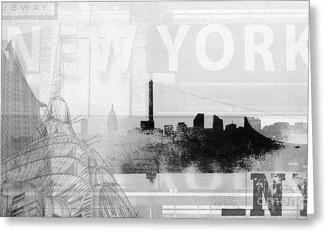 Gotham City Greeting Cards - New York NY architectural collage Greeting Card by ArtyZen Studios - ArtyZen Home