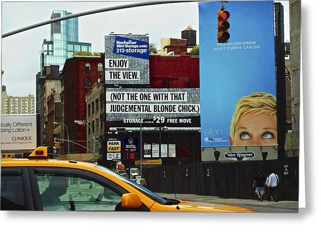 Ellen Degeneres Greeting Cards - New York On the Move Greeting Card by Joan Reese