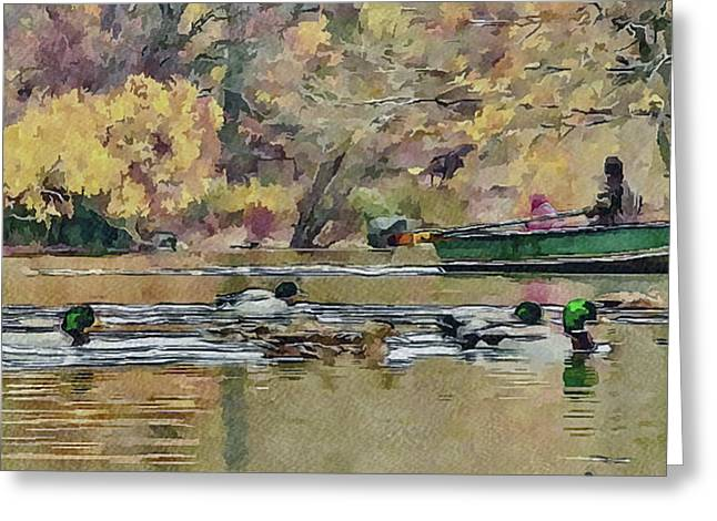 Live Art Greeting Cards - New York Park boat ride Greeting Card by Yury Malkov