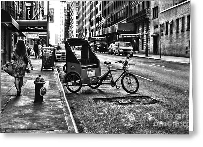 Ladies Bike Greeting Cards - New York Park South  Greeting Card by Paul Ward