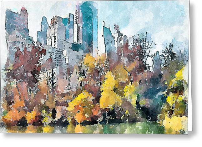 Live Art Greeting Cards - New York Park View Greeting Card by Yury Malkov