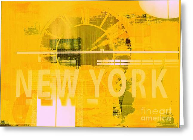 Teen Licensing Greeting Cards - New York Pop Art Clock Typogrpahy Collage Greeting Card by Anahi DeCanio