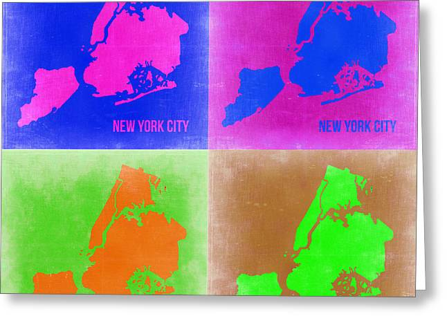 Nyc Posters Greeting Cards - New York Pop Art  Map 2 Greeting Card by Naxart Studio