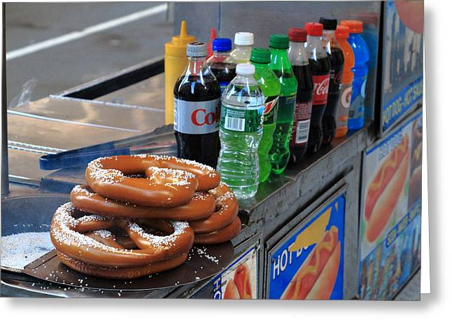 Coca-cola Mural Greeting Cards - New York Pretzel Stand Greeting Card by Frank Romeo