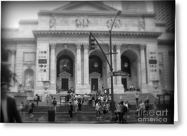 Repository Greeting Cards - New York Public Library - After the Rain Greeting Card by Miriam Danar