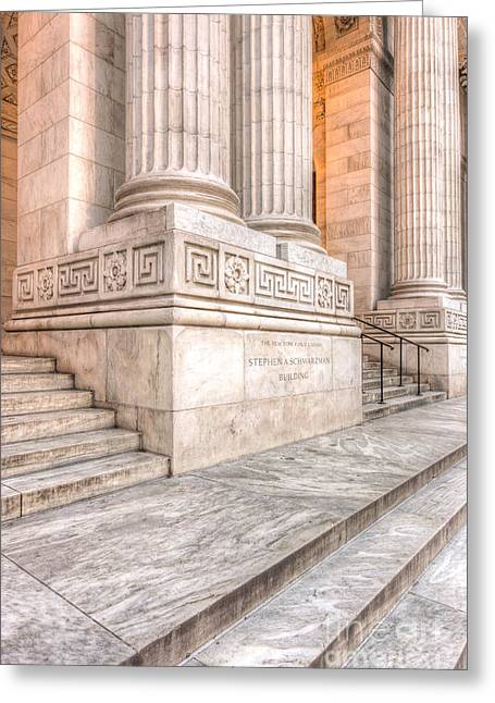New York Public Library Columns And Stairs I Greeting Card by Clarence Holmes