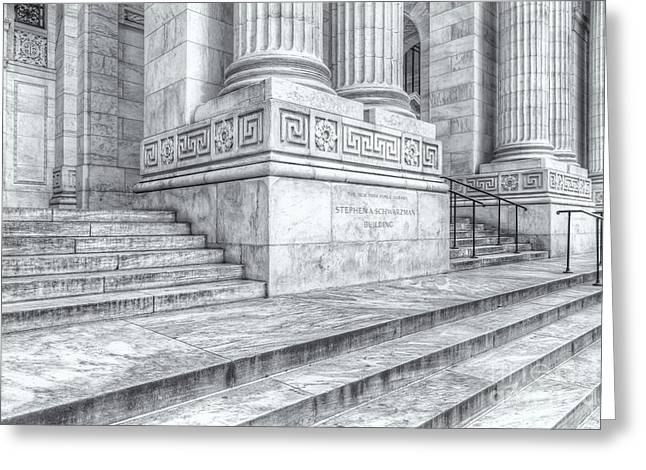 New York Public Library Columns And Stairs Iv Greeting Card by Clarence Holmes