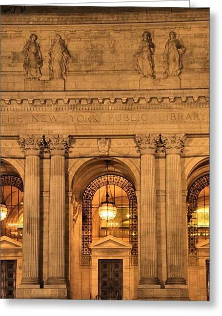 College Avenue Greeting Cards - New York Public Library Greeting Card by Dan Sproul