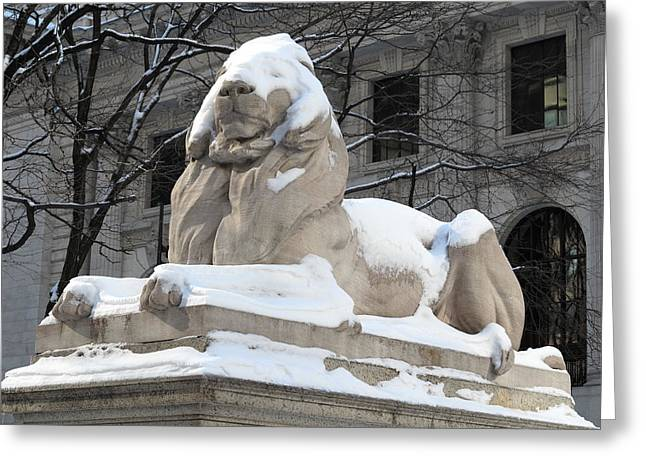Bryant Park Greeting Cards - New York Public Library Lion Greeting Card by Frank Romeo