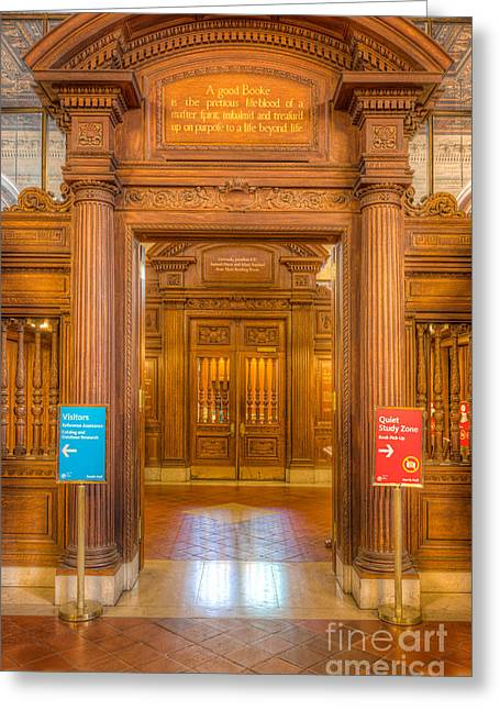 New York Public Library Main Reading Room Entrance I Greeting Card by Clarence Holmes