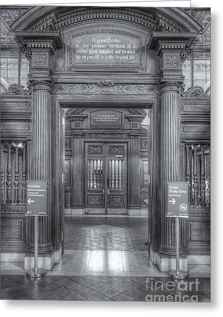 Main Branch Greeting Cards - New York Public Library Main Reading Room Entrance II Greeting Card by Clarence Holmes